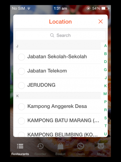 Screenshot showing some of the locations, such as: Jabatan Sekolah-Sekolah, Jabatan Telekom, JERUDONG, Kampong Anggerek Desa, etc. Yes, I took the screenshot at 1:31 am.