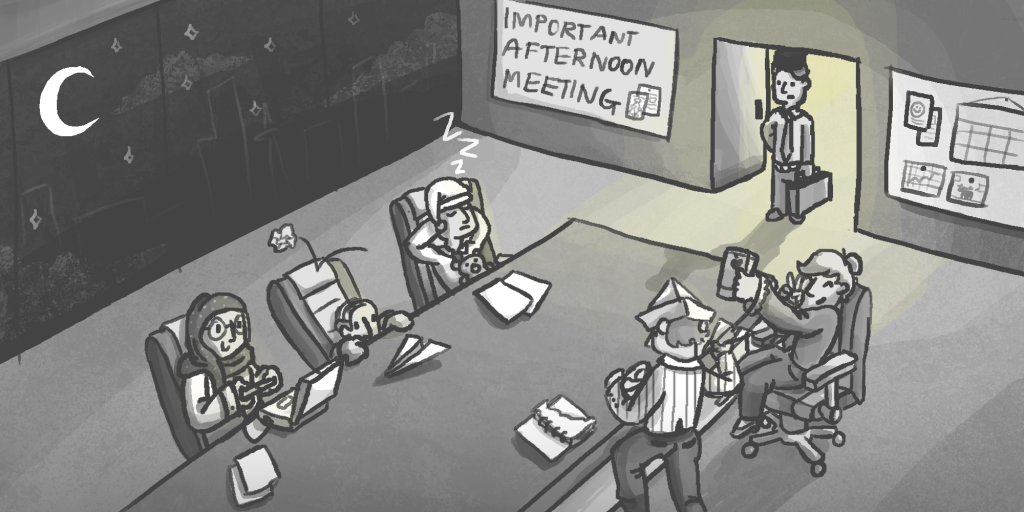 Illustration for Lateness Culture - Meeting - Commissioned from Ibrahim