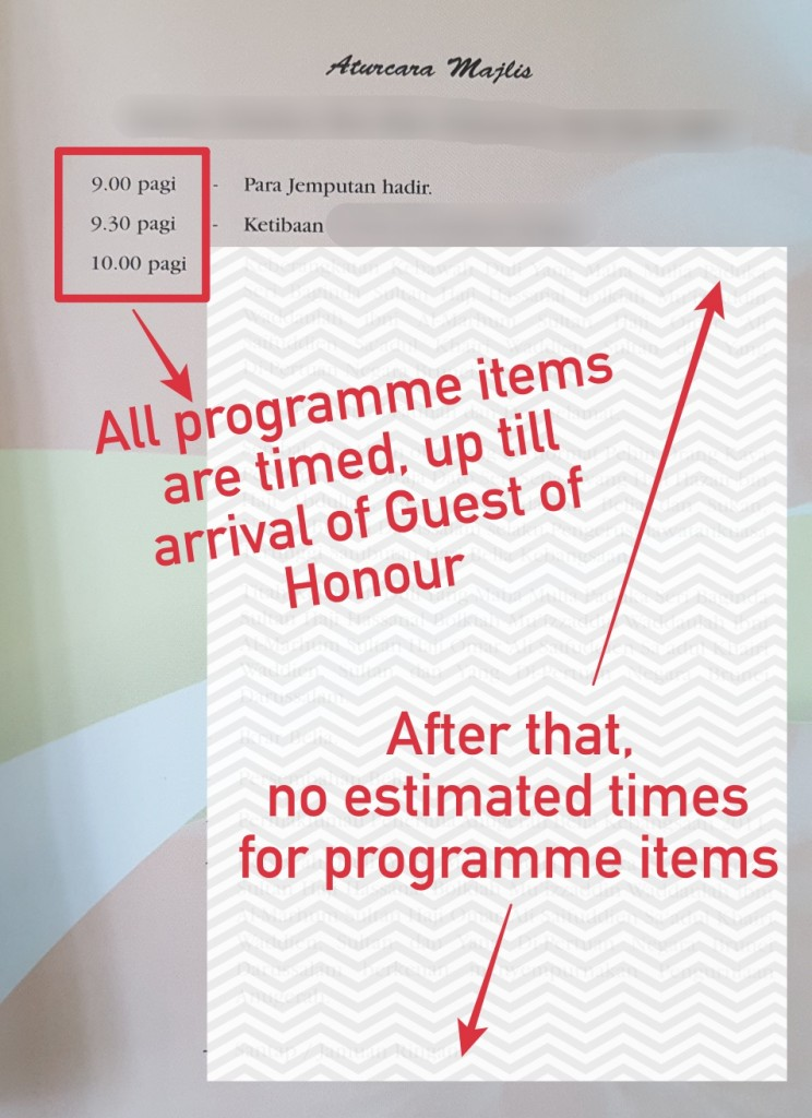 Aturcara Majlis (Event Programme) showing that programme items after Guest of Honour arrival are not given specific times